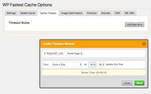 WP Fastest Cache - Cache Timeout Wizard dialog